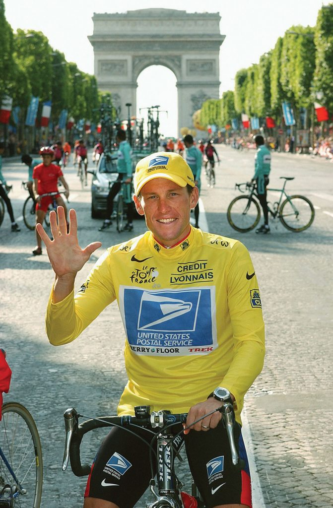 Lance Armstrong wins his first Tour de France