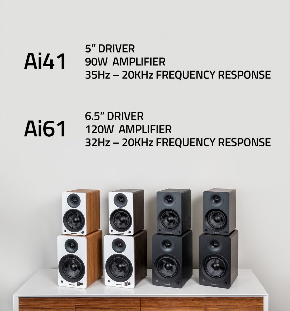 The differences between the Ai41 and Ai61 Powered bookshelf speakers