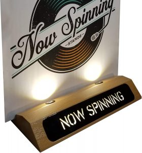 now spinning vinyl record stand